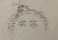 My sketch of Noor looking up at her ponytail